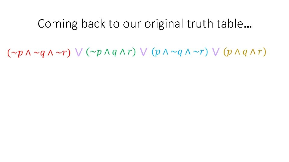 Coming back to our original truth table…