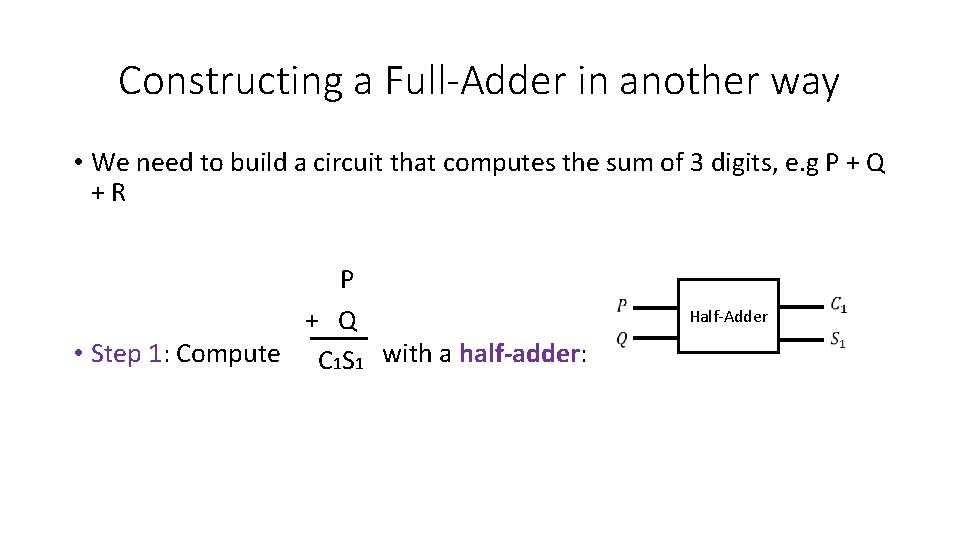 Constructing a Full-Adder in another way • We need to build a circuit that