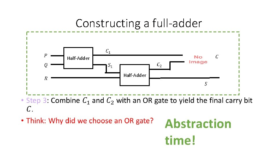 Constructing a full-adder Half-Adder • Abstraction time!