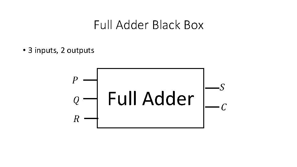 Full Adder Black Box • 3 inputs, 2 outputs Full Adder