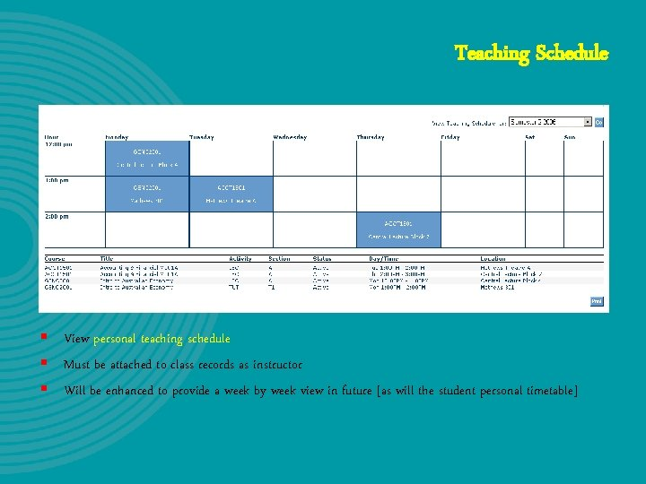 Teaching Schedule § View personal teaching schedule § Must be attached to class records