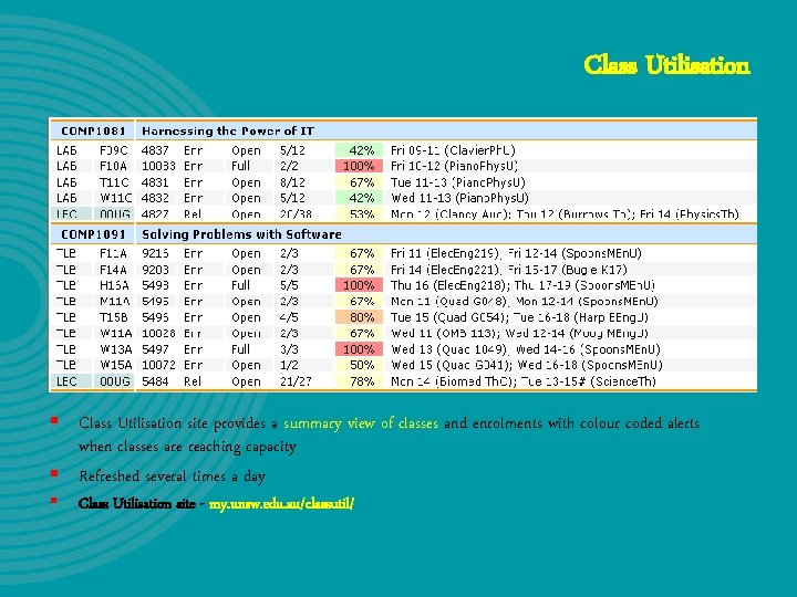 Class Utilisation § Class Utilisation site provides a summary view of classes and enrolments