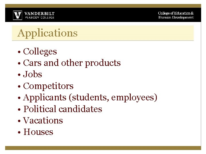 Applications • Colleges • Cars and other products • Jobs • Competitors • Applicants