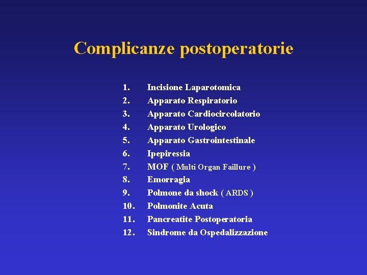 Complicanze postoperatorie 1. 2. 3. 4. 5. 6. 7. 8. 9. 10. 11. 12.