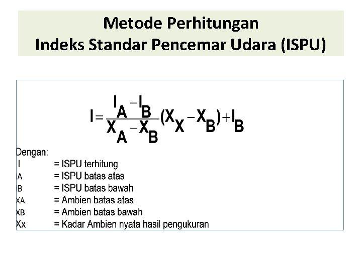 Metode Perhitungan Indeks Standar Pencemar Udara (ISPU)