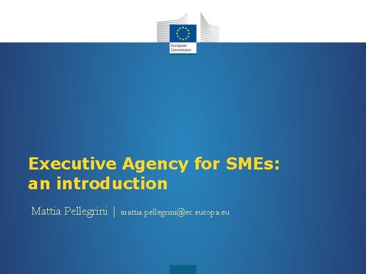 Executive Agency for SMEs: an introduction Mattia Pellegrini   mattia. pellegrini@ec. europa. eu