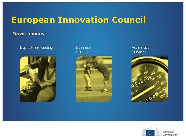 European Innovation Council Smart money Equity Free Funding Business Coaching Acceleration Services
