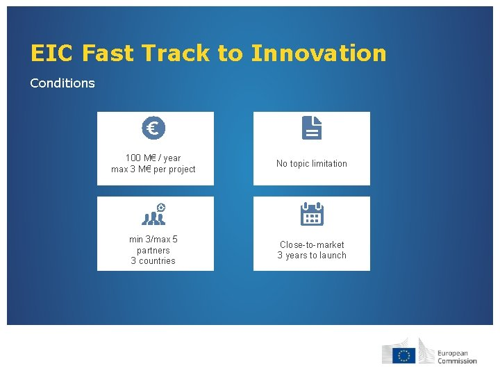 EIC Fast Track to Innovation Conditions 100 M€ / year max 3 M€ per