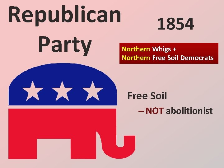 Republican Party 1854 Northern Whigs + Northern Free Soil Democrats Free Soil – NOT