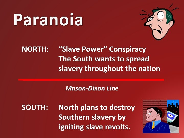 """Paranoia NORTH: """"Slave Power"""" Conspiracy The South wants to spread slavery throughout the nation"""