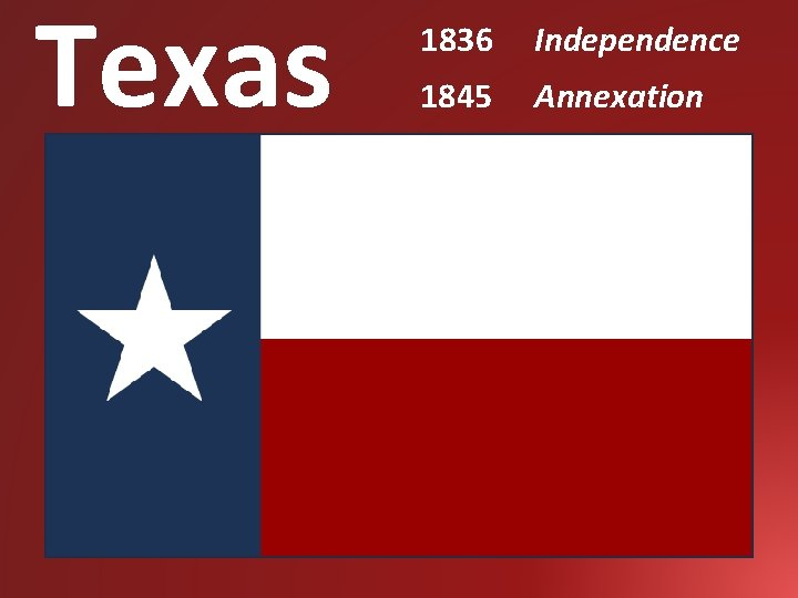 Texas 1836 Independence 1845 Annexation
