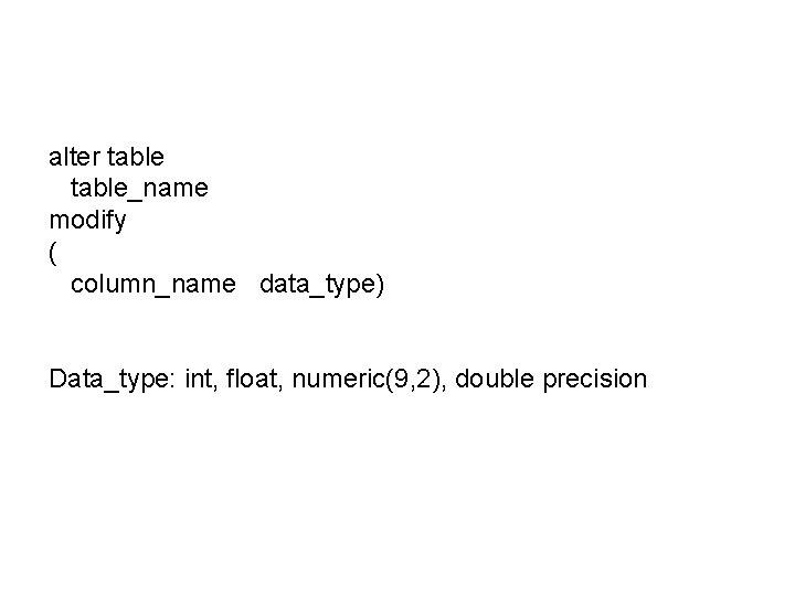 alter table_name modify ( column_name data_type) Data_type: int, float, numeric(9, 2), double precision