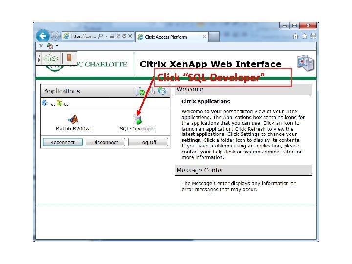 "Click ""SQL-Developer"""