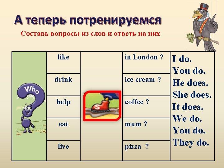 А теперь потренируемся Составь вопросы из слов и ответь на них like in London