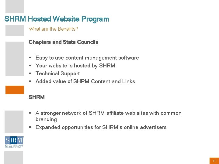 SHRM Hosted Website Program What are the Benefits? Chapters and State Councils § §