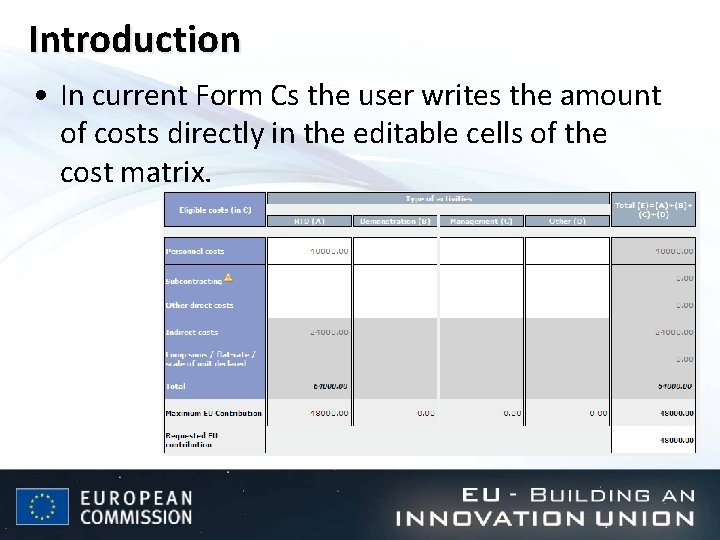 Introduction • In current Form Cs the user writes the amount of costs directly