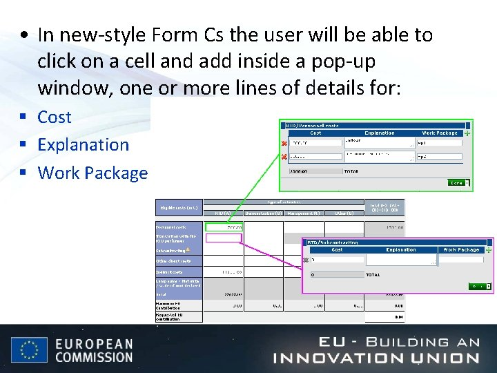 • In new-style Form Cs the user will be able to click on