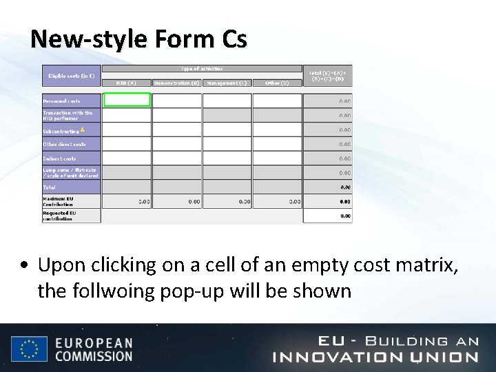 New-style Form Cs • Upon clicking on a cell of an empty cost matrix,