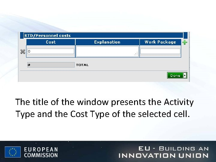 The title of the window presents the Activity Type and the Cost Type of