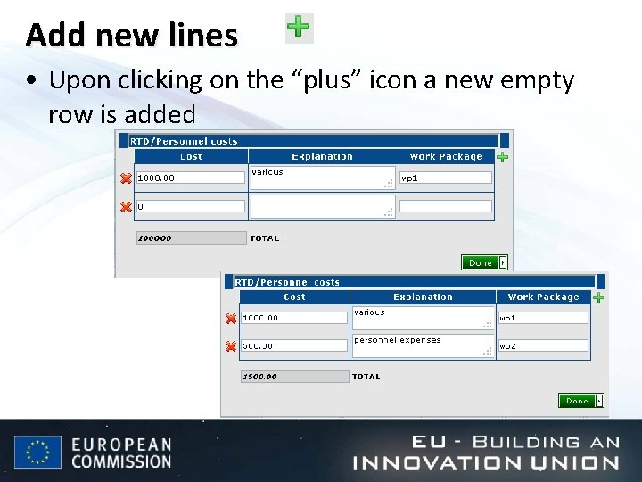 """Add new lines • Upon clicking on the """"plus"""" icon a new empty row"""