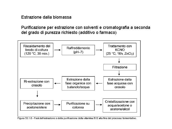 Estrazione dalla biomassa Purificazione per estrazione con solventi e cromatografia a seconda del grado