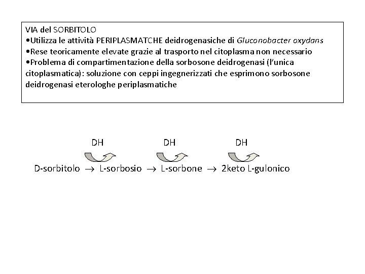 VIA del SORBITOLO • Utilizza le attività PERIPLASMATCHE deidrogenasiche di Gluconobacter oxydans • Rese
