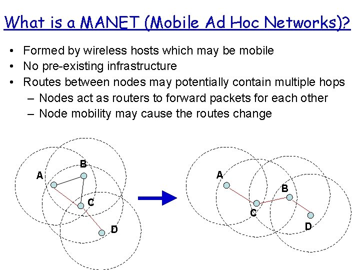 What is a MANET (Mobile Ad Hoc Networks)? • Formed by wireless hosts which