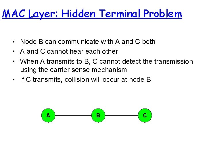 MAC Layer: Hidden Terminal Problem • Node B can communicate with A and C
