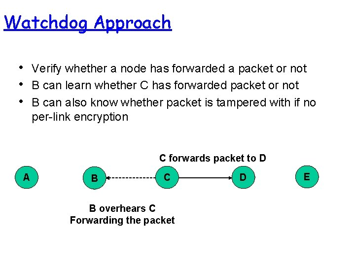 Watchdog Approach • • • Verify whether a node has forwarded a packet or