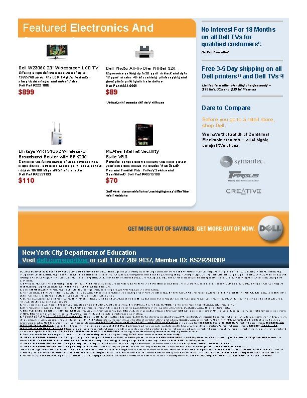 Featured Electronics And Accessories No Interest For 18 Months on all Dell TVs for