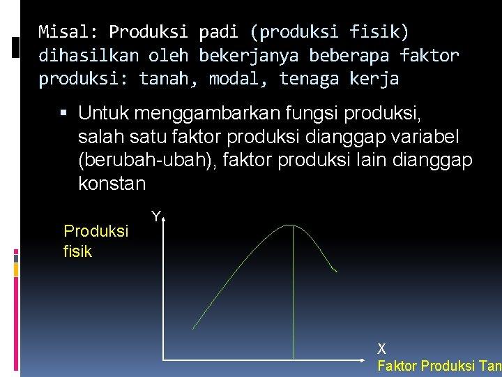 Misal: Produksi padi (produksi fisik) dihasilkan oleh bekerjanya beberapa faktor produksi: tanah, modal, tenaga