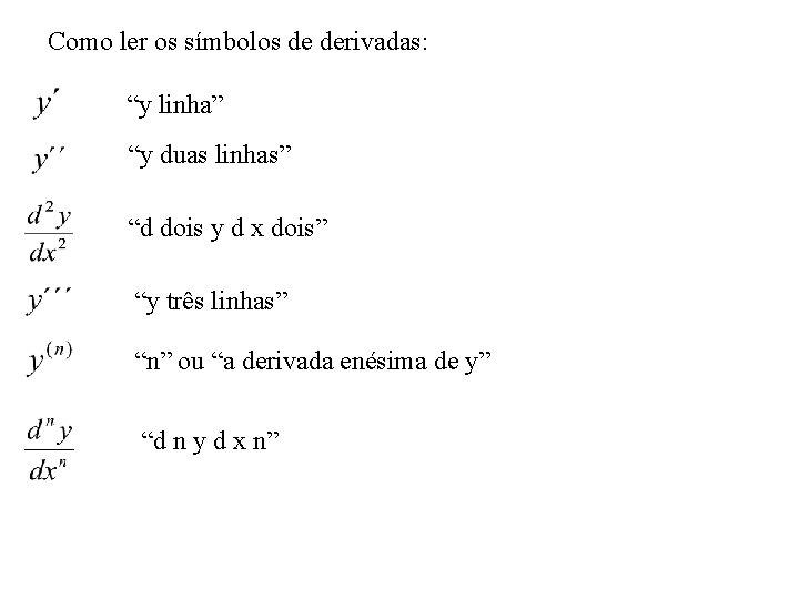 """Como ler os símbolos de derivadas: """"y linha"""" """"y duas linhas"""" """"d dois y"""
