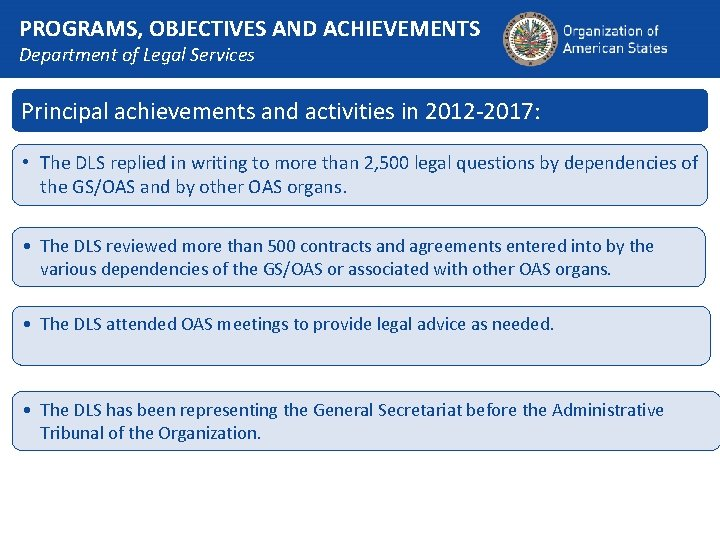 PROGRAMS, OBJECTIVES AND ACHIEVEMENTS Department of Legal Services Principal achievements and activities in 2012