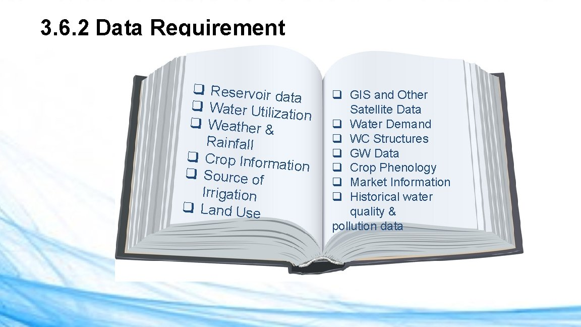3. 6. 2 Data Requirement q Reservoir d ata q Water Utiliz ation q