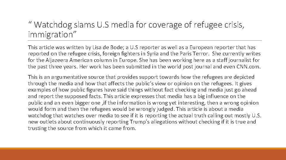""""""" Watchdog slams U. S media for coverage of refugee crisis, immigration"""" This article"""