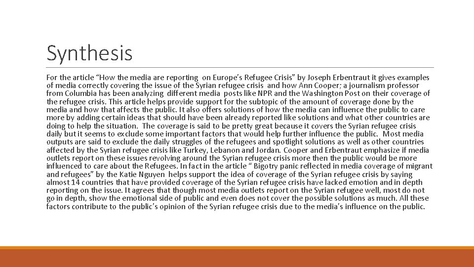 """Synthesis For the article """"How the media are reporting on Europe's Refugee Crisis"""" by"""