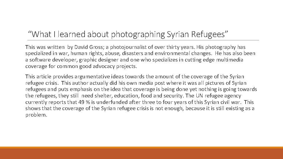 """""""What I learned about photographing Syrian Refugees"""" This was written by David Gross; a"""