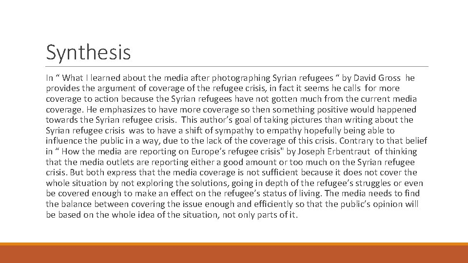 """Synthesis In """" What I learned about the media after photographing Syrian refugees """""""