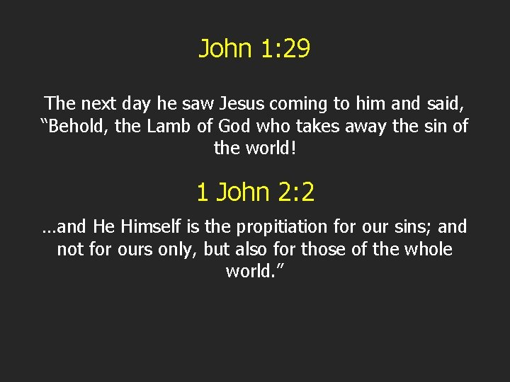 John 1: 29 The next day he saw Jesus coming to him and said,