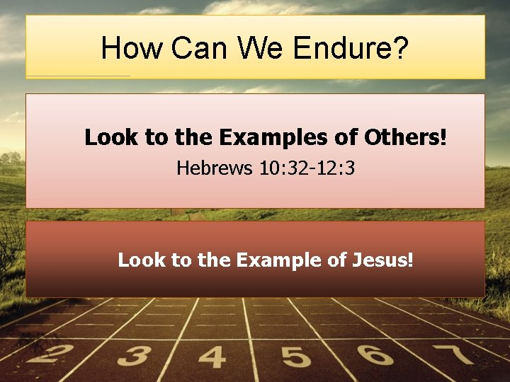 How Can We Endure? Look to the Examples of Others! Hebrews 10: 32 -12: