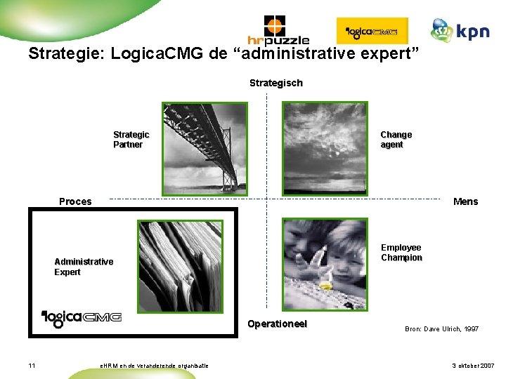 "Strategie: Logica. CMG de ""administrative expert"" Strategisch Strategic Partner Change agent Proces Mens Employee"