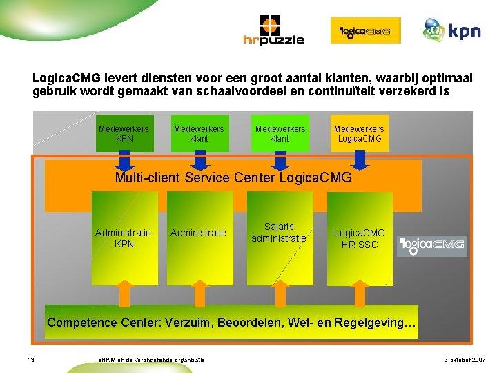 Kwaliteit en Continuïteit (3/4) Logica. CMG levert diensten voor een groot aantal klanten, waarbij