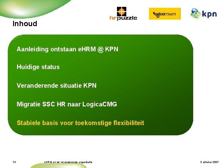 Inhoud Aanleiding ontstaan e. HRM @ KPN Huidige status Veranderende situatie KPN Migratie SSC