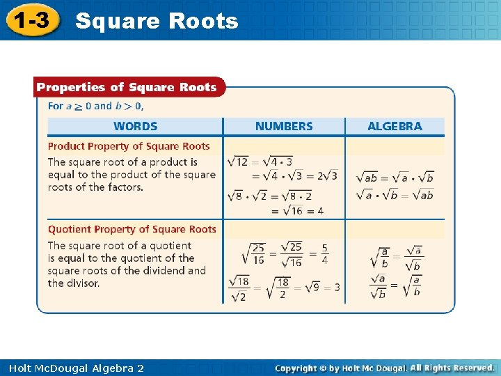1 -3 Square Roots Holt Mc. Dougal Algebra 2