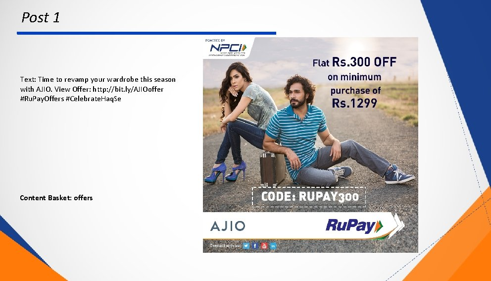 Post 1 Text: Time to revamp your wardrobe this season with AJIO. View Offer: