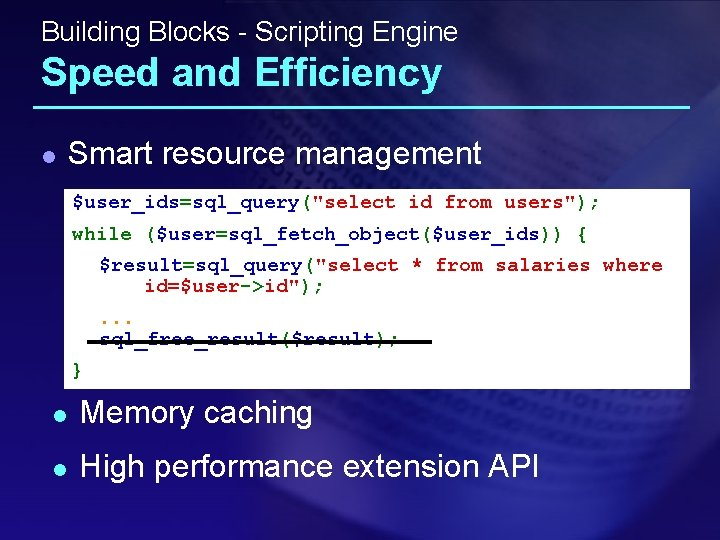 """Building Blocks - Scripting Engine Speed and Efficiency l Smart resource management $user_ids=sql_query(""""select id"""