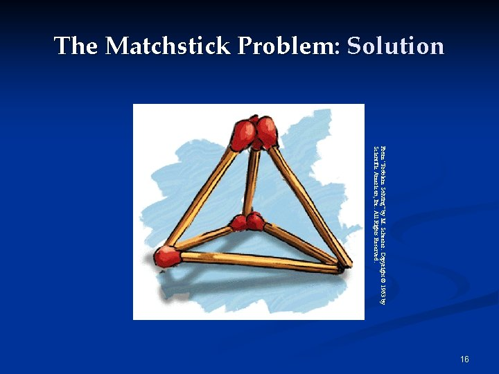 """The Matchstick Problem: Solution From """"Problem Solving"""" by M. Scheerer. Copyright © 1963 by"""