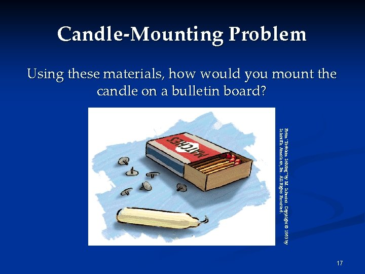 Candle-Mounting Problem Using these materials, how would you mount the candle on a bulletin