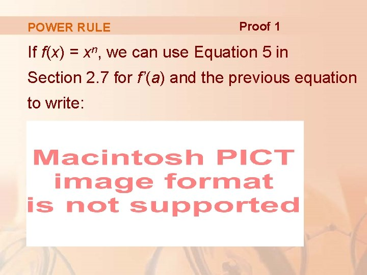 POWER RULE Proof 1 If f(x) = xn, we can use Equation 5 in
