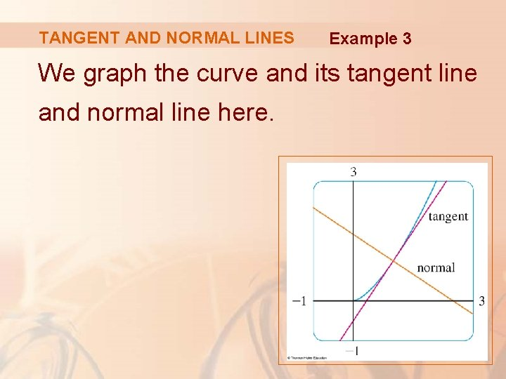 TANGENT AND NORMAL LINES Example 3 We graph the curve and its tangent line